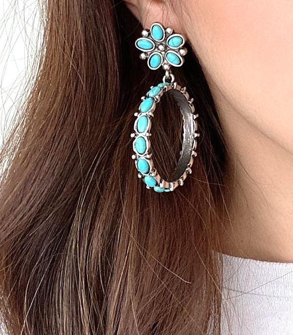 New Arrival :: Wholesale Turquoise Flower Hoop Earrings