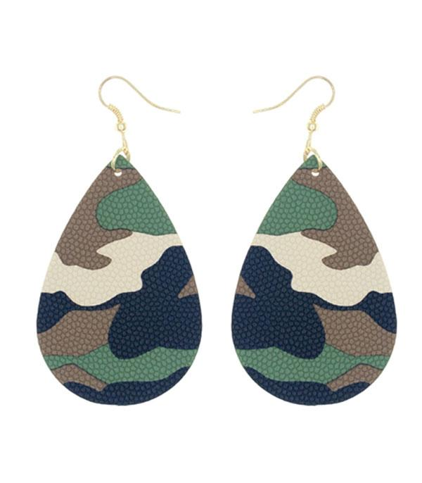 New Arrival :: Wholesale Camo Print Teardrop Earrings