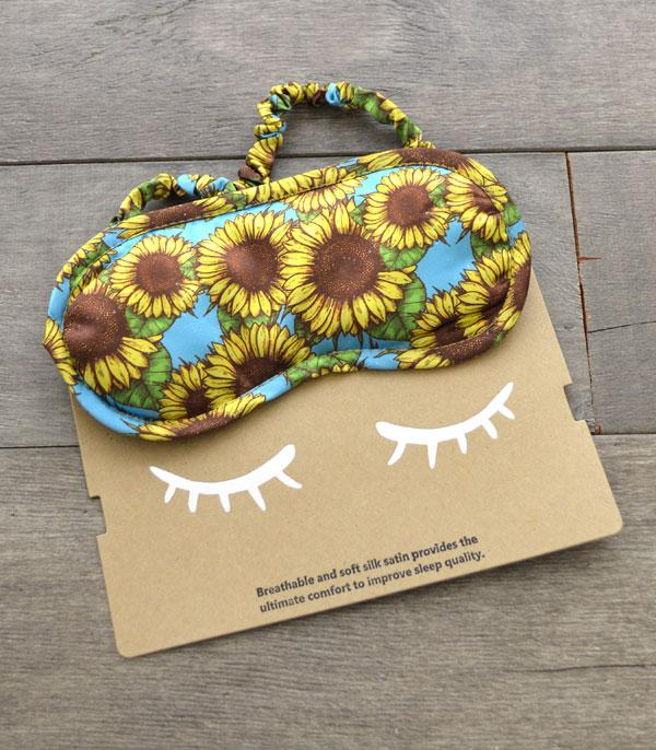 New Arrival :: Wholesale Sunflower Print Silk Satin Sleep Mask