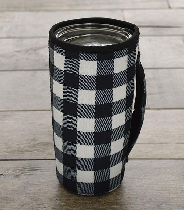 New Arrival :: Wholesale Buffalo Plaid Print Tumbler Drink Sleeve