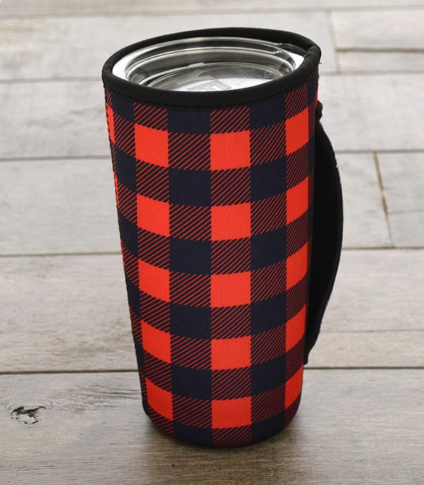New Arrival :: Wholesale Buffalo Plaid Tumbler Drink Sleeve