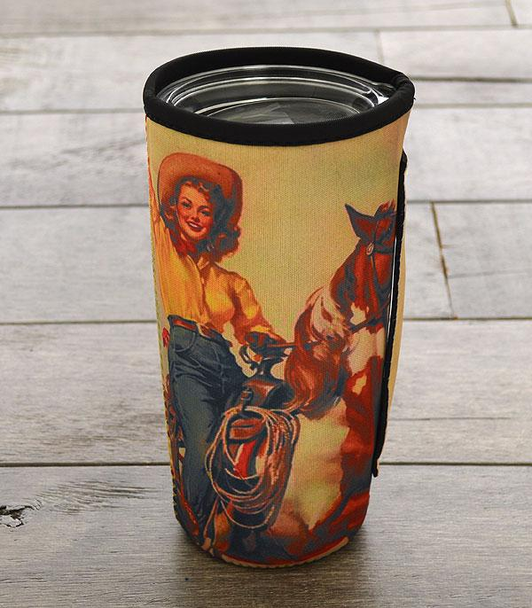 New Arrival :: Wholesale Vintage Cowgirl Tumbler Drink Sleeve