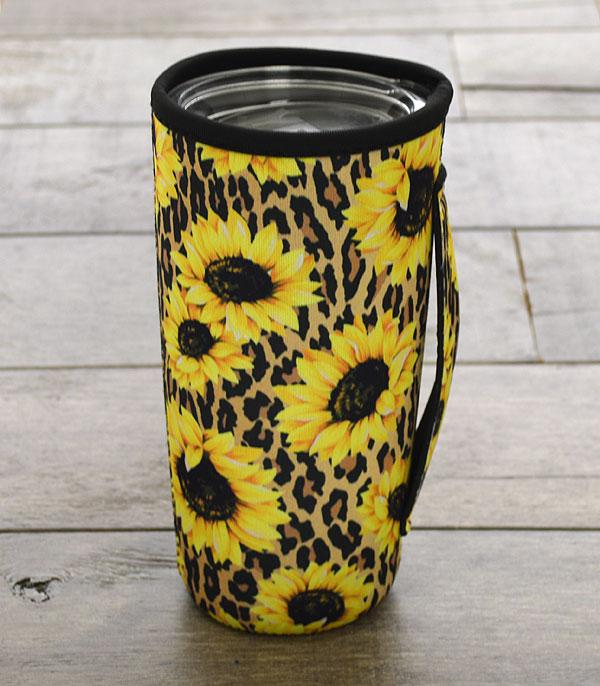New Arrival :: Wholesale Sunflower Leopard Tumbler Drink Sleeve