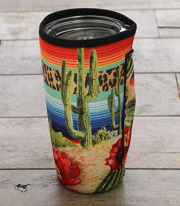 New Arrival :: Wholesale Serape Cactus Tumbler Drink Sleeve