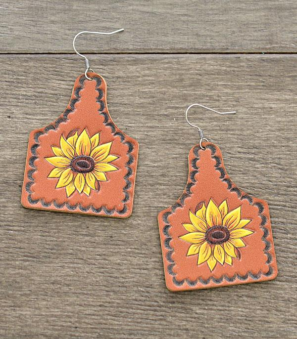 New Arrival :: Wholesale Leather Sunflower Cattletag Earrings