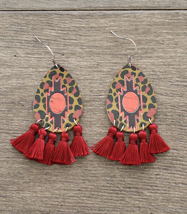 New Arrival :: Wholesale Leather Aztec Tassel Earrings