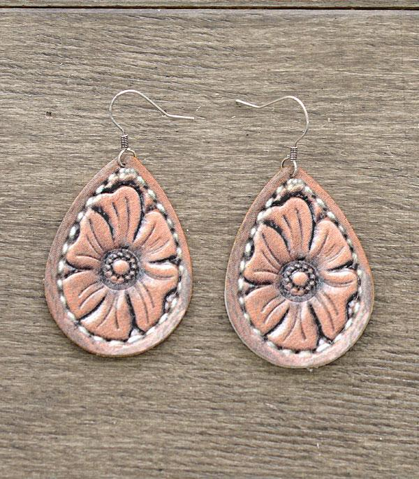 New Arrival :: Wholesale Leather Floral Teardrop Earrings