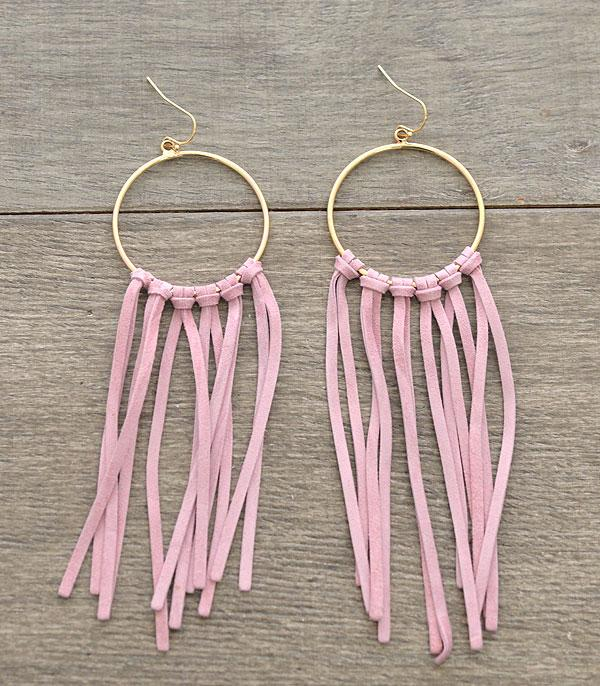 New Arrival :: Wholesale Leather Tassel Hoop Earrings