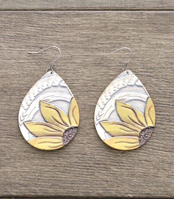New Arrival :: Wholesale Sunflower Leather Teardrop Earrings