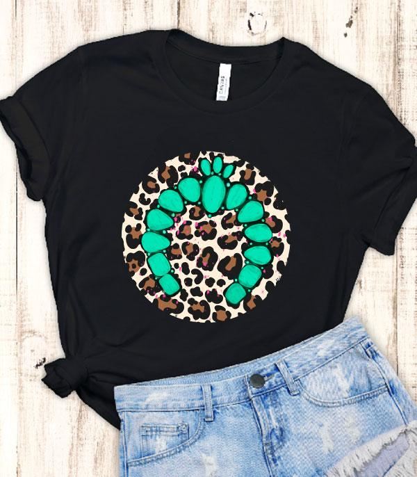 WHAT'S NEW :: Wholesale Turquoise Squash Blosom Leopard Tshirt