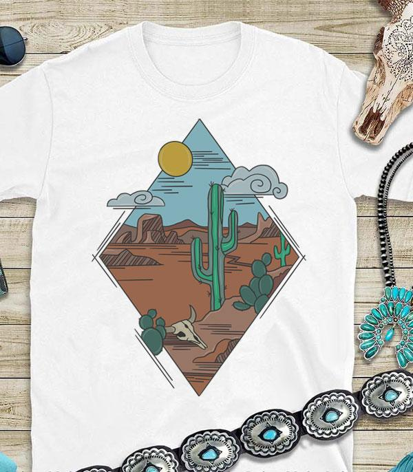 New Arrival :: Wholesale Desert Cactus Western Graphic Tshirt