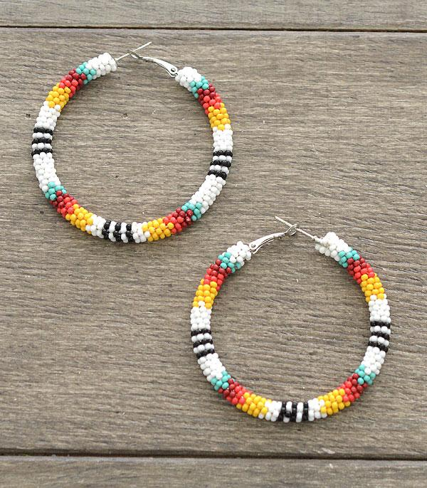 New Arrival :: Wholesale Seed Bead Hoop Earrings