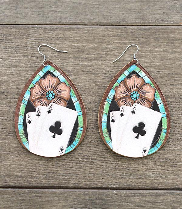 New Arrival :: Wholesale Card Print Leather Teardrop Earrings