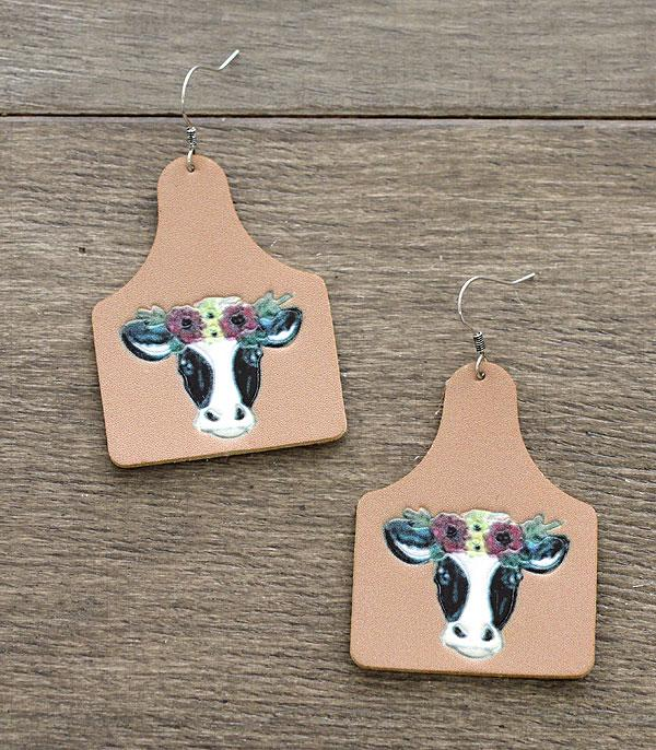 New Arrival :: Wholesale Leather Cow Tag Earrings
