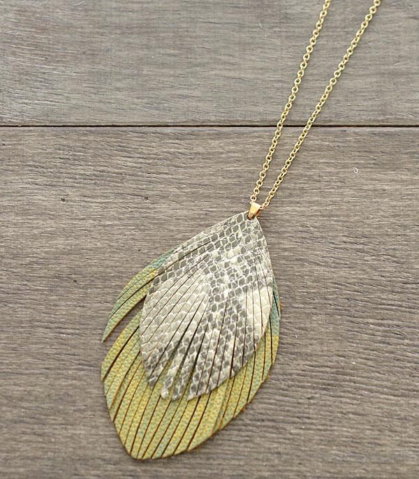 New Arrival :: Wholesale Feather Faux Leather Necklace