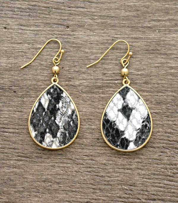 New Arrival :: Wholesale Snake Print Teardrop Earrings