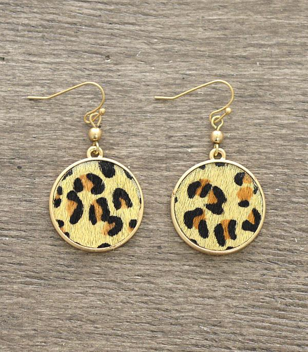 New Arrival :: Wholesale Animal Print Round Dangle Earrings