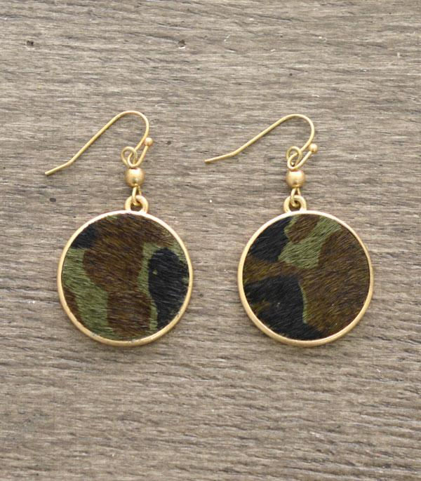 New Arrival :: Wholesale Camo Print Circle Dangle Earring