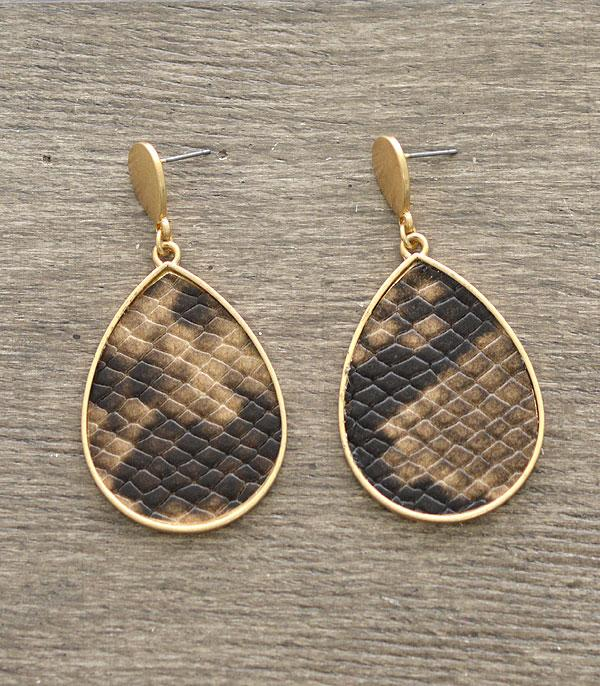 New Arrival :: Wholesale Snake Skin Print Teardrop Earrings