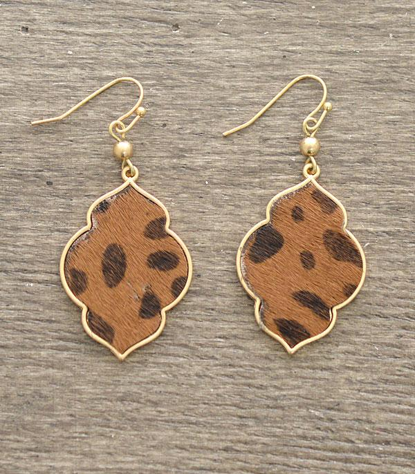 New Arrival :: Wholesale Animal Print Geo Dangle Earrings