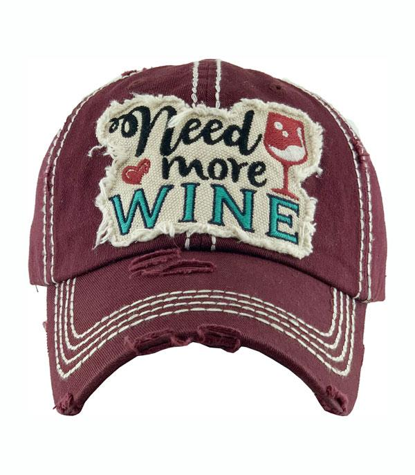 New Arrival :: Wholesale Need More Wine Vintage Ballcap