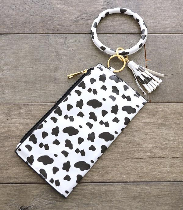 New Arrival :: Wholesale Cow Print Bangle Wristlet Pouch