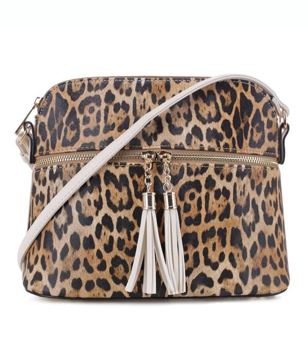 New Arrival :: Wholesale Leopard Tassel Accent Crossbody Bag
