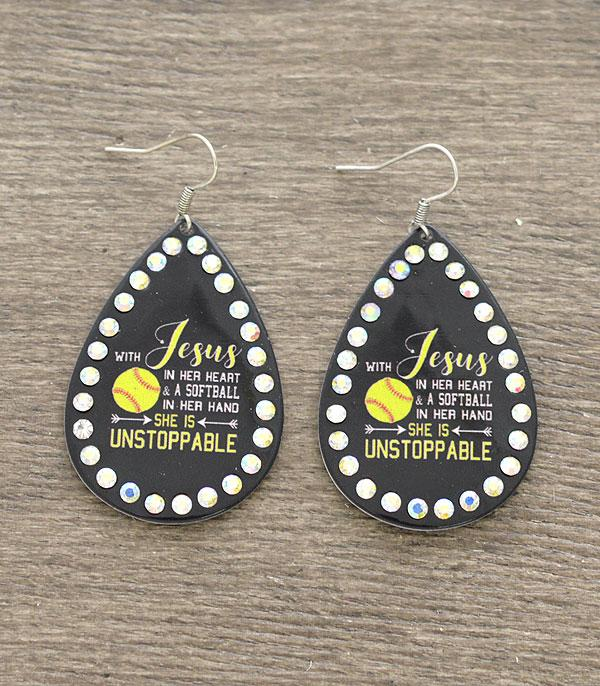 New Arrival :: Wholesale Softball Teardrop Earrings