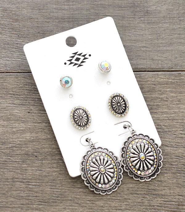 New Arrival :: Wholesale 3PC Set Western Concho Earrings