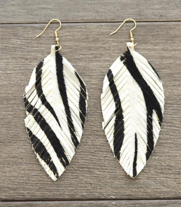 New Arrival :: Wholesale Genuine Leather Zebra Print Earrings