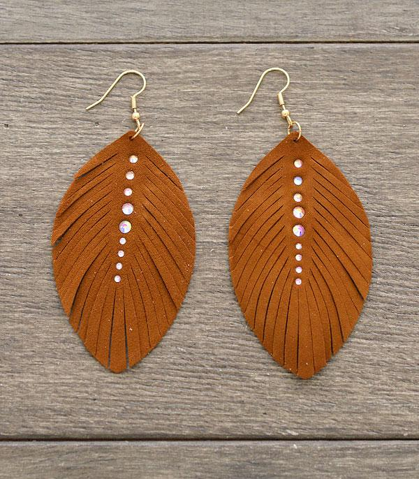 New Arrival :: Wholesale Genuine Leather Feather Earrings