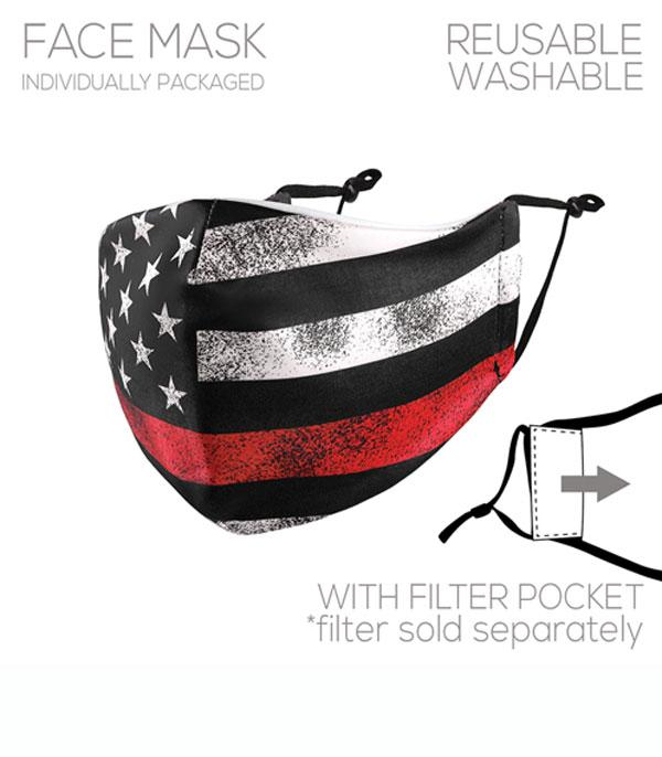 New Arrival :: Wholesale Red Line American Flag Face Mask