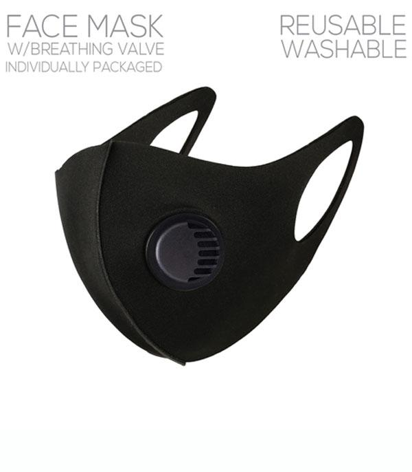 New Arrival :: Wholesale Solid Black Breathing Valve Mask