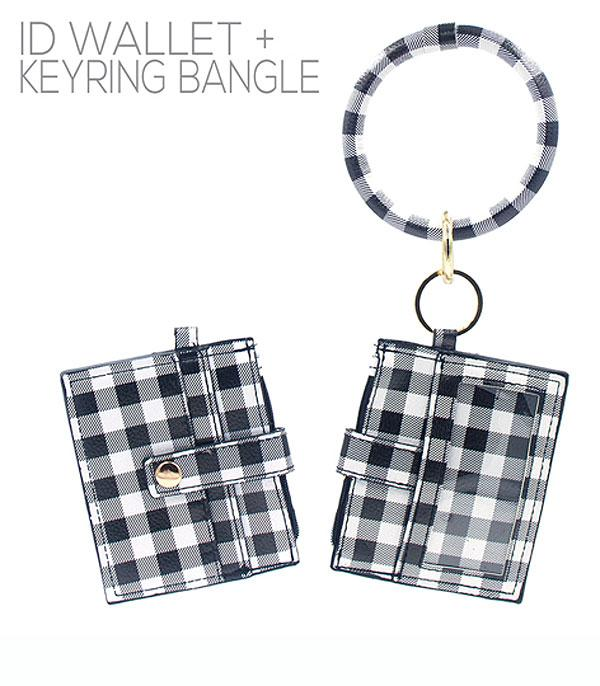 New Arrival :: Wholesale Buffalo Plaid ID Wallet Bangle Keychain