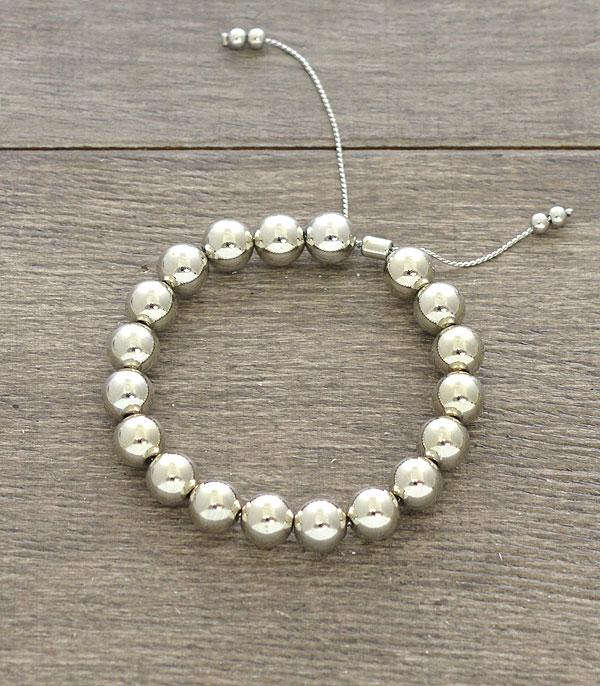 New Arrival :: Wholesale Silver Ball Adjustable Bracelet