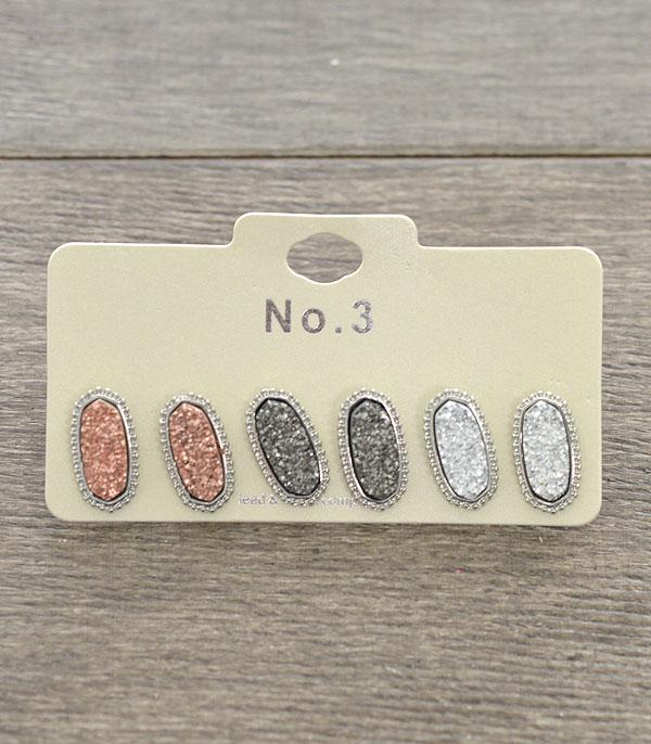 New Arrival :: Wholesale Druzy Oval Stud Earrings Set