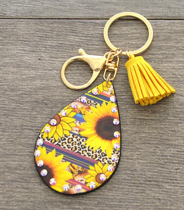 New Arrival :: Wholesale Sunflower Teardrop Keychain