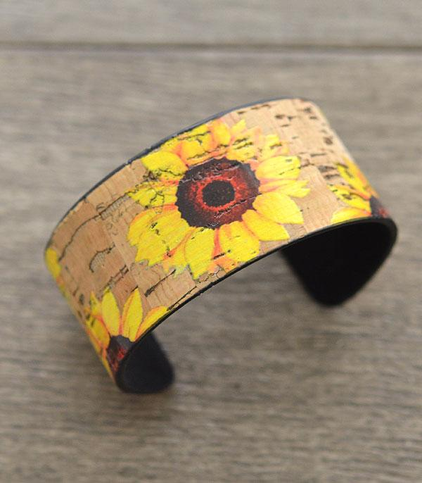 New Arrival :: Wholesale Sunflower Cork Cuff Bracelet