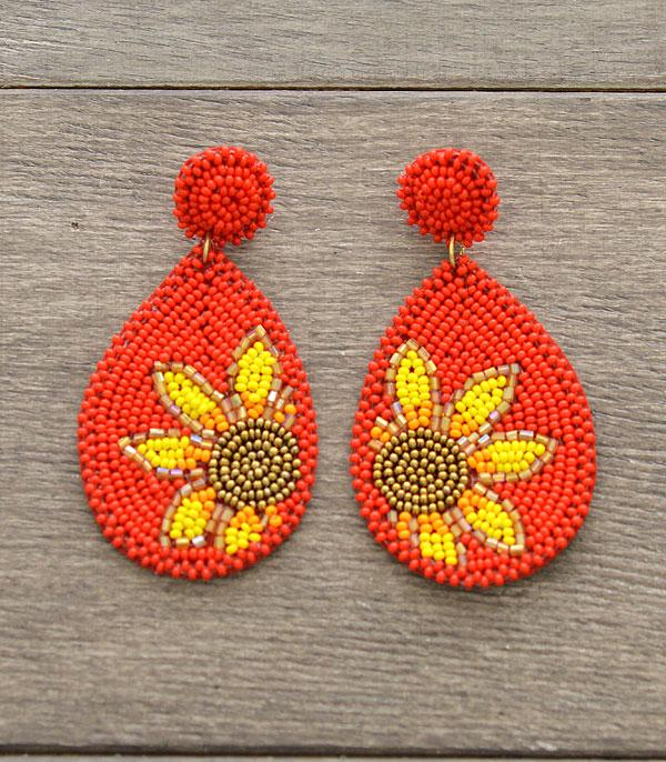 New Arrival :: Wholesale Seed Beaded Sunflower Earrings