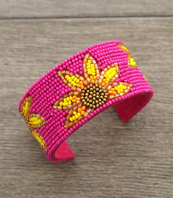 New Arrival :: Wholesale Seed Beaded Sunflower Cuff Bracelet