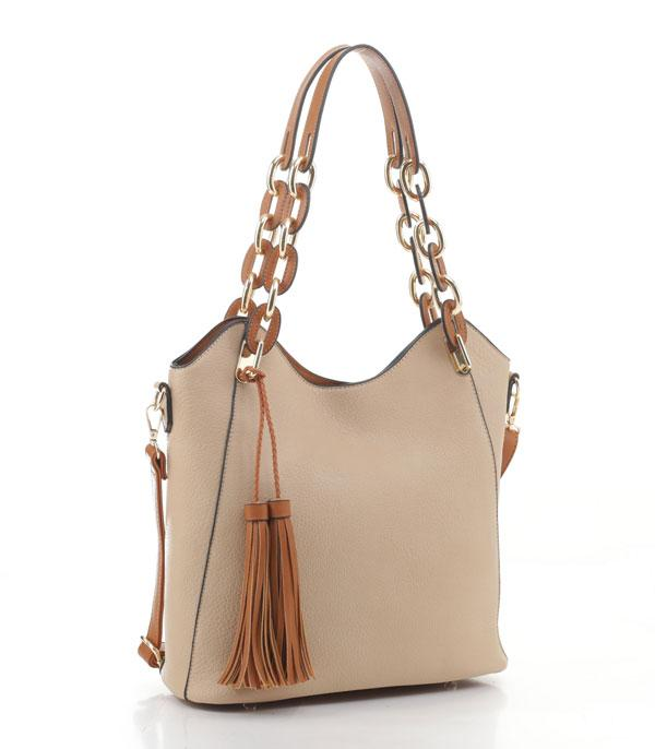 New Arrival :: Wholesale Tassel Accent Faux Leather Shoulder Bag