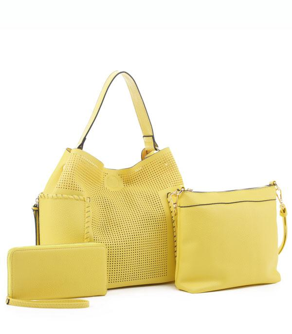 New Arrival :: Wholesale 3 in 1 Faux Leather Set Bag
