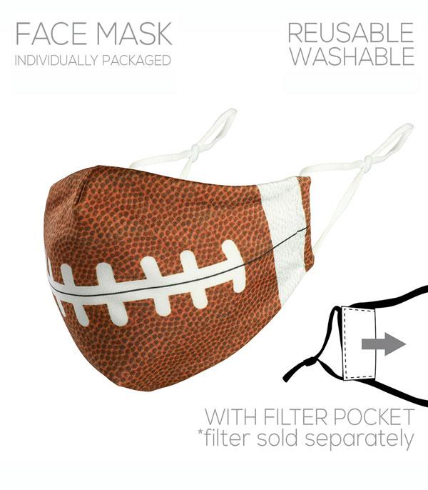 New Arrival :: Wholesale Football Print Filter Pocket Face Mask