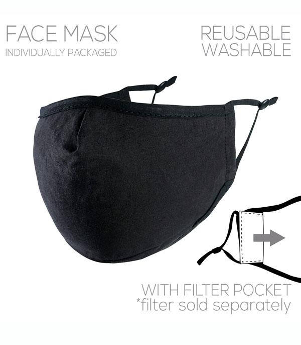 New Arrival :: Wholesale Solid Black Filter Pocket Reusable Mask