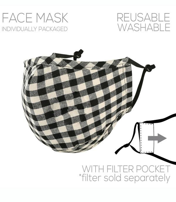 New Arrival :: Wholesale Buffalo Plaid Filter Pocket Face Mask