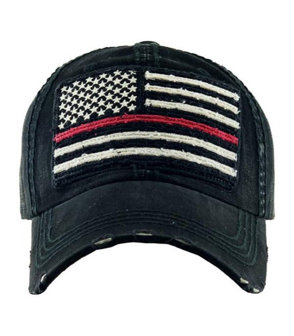 New Arrival :: Wholesale Flag Red Line Vintage Ballcap