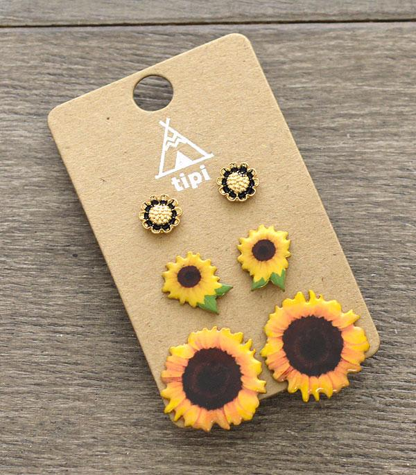 New Arrival :: Wholesale 3PC Set Sunflower Stud Earrings