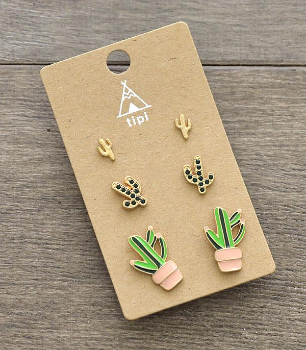 New Arrival :: Wholesale 3PC Set Cactus Earrings