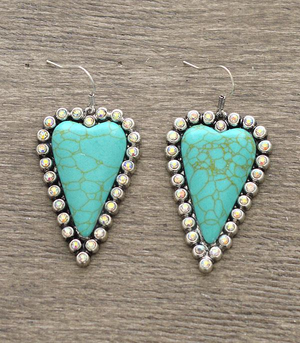 <font color=Turquoise>TURQUOISE JEWELRY</font> :: Wholesale Heart Stone Dangle Earrings