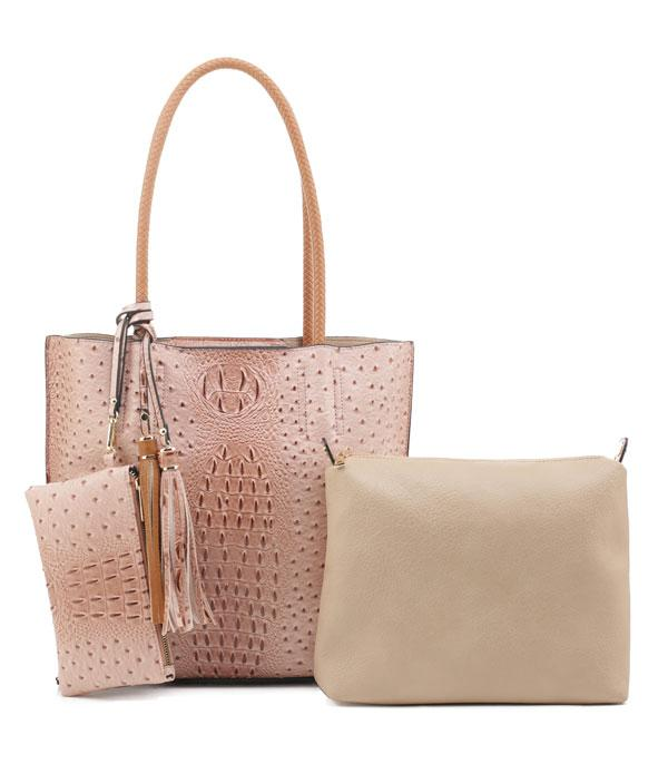 New Arrival :: Wholesale 2 In 1 Faux Ostrich Croc Tote Set Bag